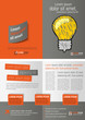 Gray and orange template for advertising with idea light bulb