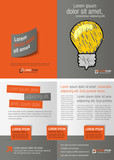 Fototapety Gray and orange template for advertising with idea light bulb