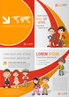 Orange and red template for advertising with children students