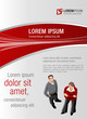 Red and gray template for advertising with business people