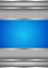 Background template, metallic texture, blue blank