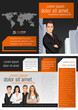 Orange and black template with business people