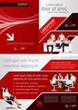 Fototapety Red and black template for advertising with business people
