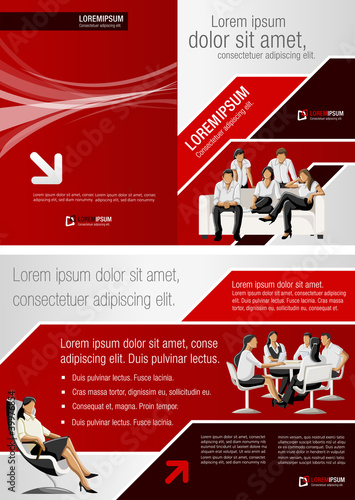 Red and black template for advertising with business people