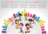 Fototapety Colorful website Template with kids