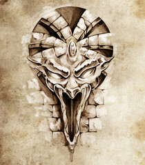 Sketch of tattoo art, rock gargoyle mask