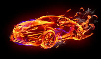 Płonący samochód