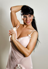 Female posing in nightie.