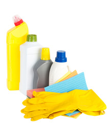 Cleaning products and rubber gloves