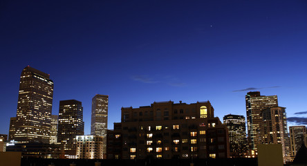 Downtown Denver Looking West at Dusk