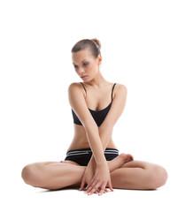Beautiful woman sit in yoga asana isolated