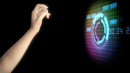 woman's hand with high technology futuristic backdrop