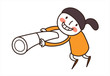 side view of girl holding telescope