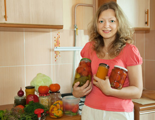 Woman with marinated vegetables