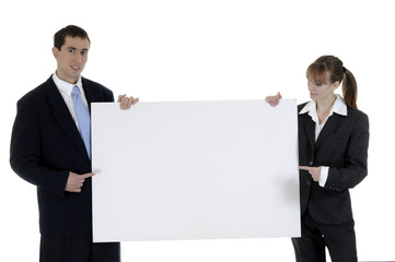 The businessman and the businesswoman hold a clean sheet
