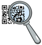 Magnifying Glass Zooming In On A QR Identification Code