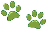 Green Paw Prints. Vector Illustration