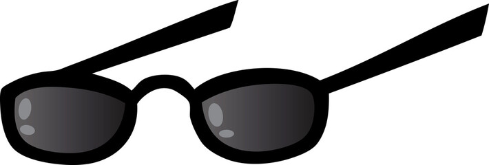 Black Eye Glasses. Raster Illustration
