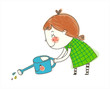 side view of girl holding watering can
