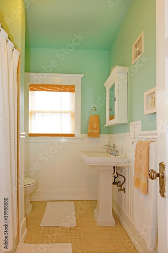 Small green bathroom with white sink.