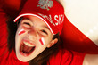Polish girl, supporter with a flag