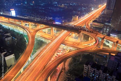 Foto op Aluminium Nacht snelweg overpass in city at night