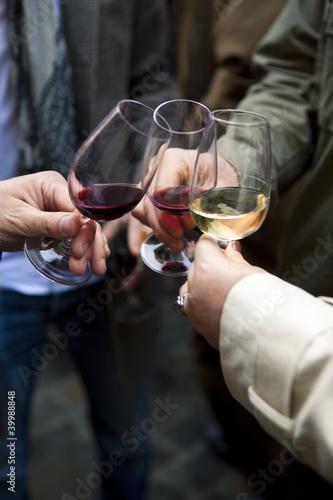Vin, dégustation, œnologie, amis, boire, boisson, verre