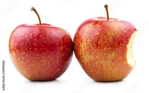 Red Apple and Bitten Red Apple Isolated on White