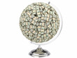 Globe of U.S. dollars isolated on a white background