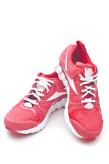 Red running sports shoes