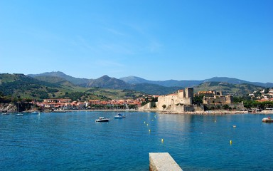 View on Mediterranean village of Collioure, France