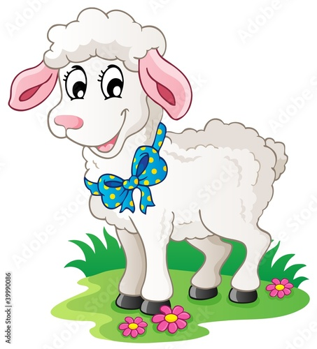 Foto op Canvas Boerderij Cute cartoon lamb