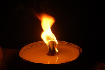 Close-up of fire in big candle3