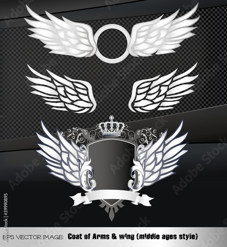eps Vector image: Coat of Arms & Wing (middle ages style)