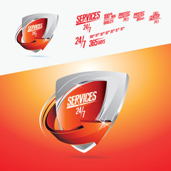 Services 24/7 Red Icon Vector