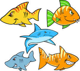 Tough Shark and Fish Vector Set