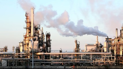 Factory Smoke stack - Oil refinery - petrochemical plant