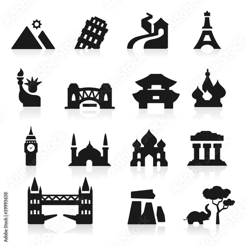 Countries icons set elegant series