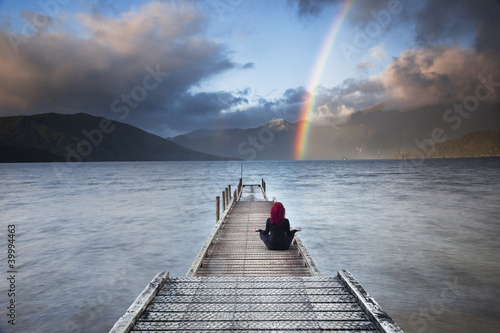 Rainbow over lake Hauroko