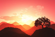 Beautiful Oriental Sunset 3D render