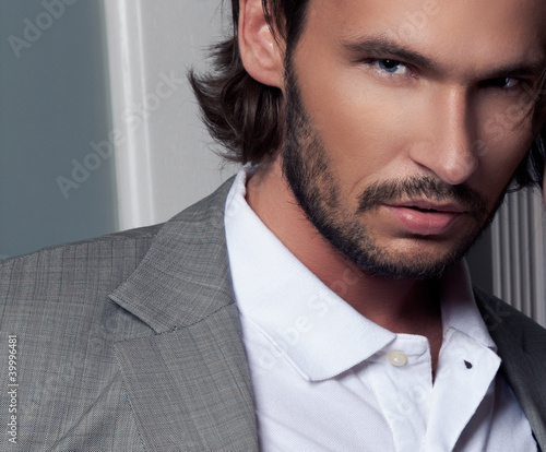 vogue style portrait of handsome man