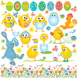 Fototapety Easter set, cute chickens, rabbit, cock, egg