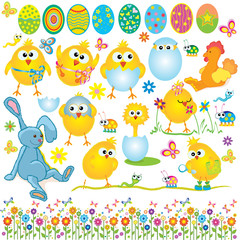 Easter set, cute chickens, rabbit, cock, egg