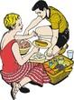 Ilustracion parejas de enamorados