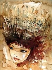 abstrakcyjna głowa z trawami