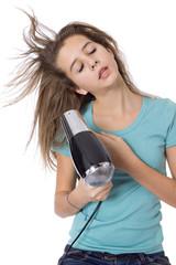 Séchage cheveux dans le vent