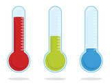 set of three color thermometers