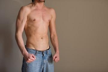 Semi-naked young man