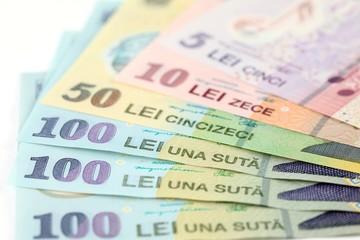 Romanian banknotes, close-up