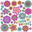 Flower Power Groovy Notebook Doodles Vector Set Design Elements